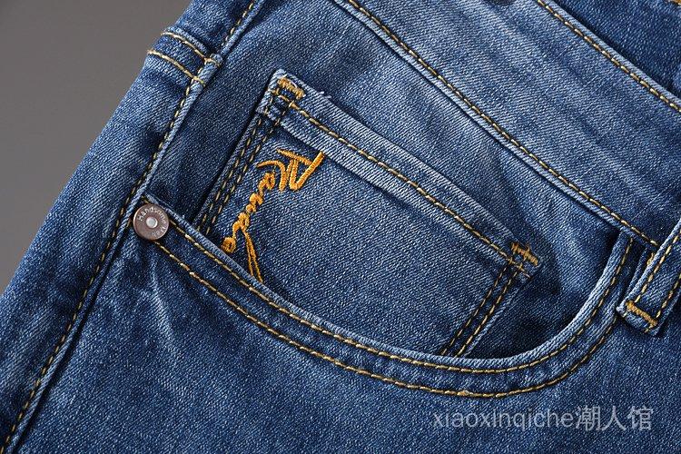 細軟柔彈 夏季新款牛仔短褲男中褲直筒水洗磨白彈力休閒五分褲潮