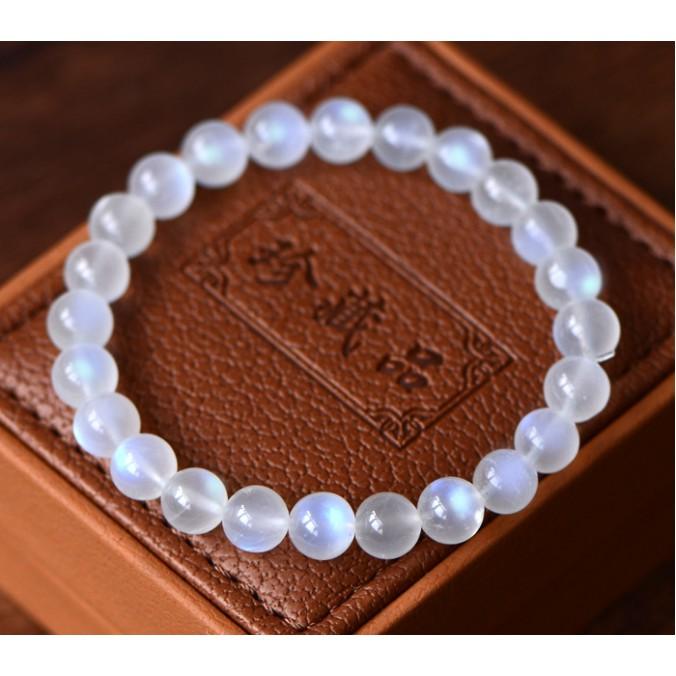 月光石手珠 5A級天然強藍光奶油體月光石6-9MM圓珠單圈手鏈 月亮石晶體藍光好時尚百搭精品 開運手飾品 MN254