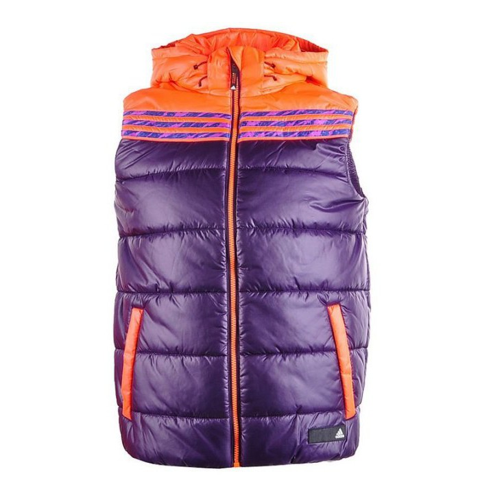 Adidas 男 防風 保暖 輕柔 連帽 舖棉背心-紫 (Z00726) 6折出清