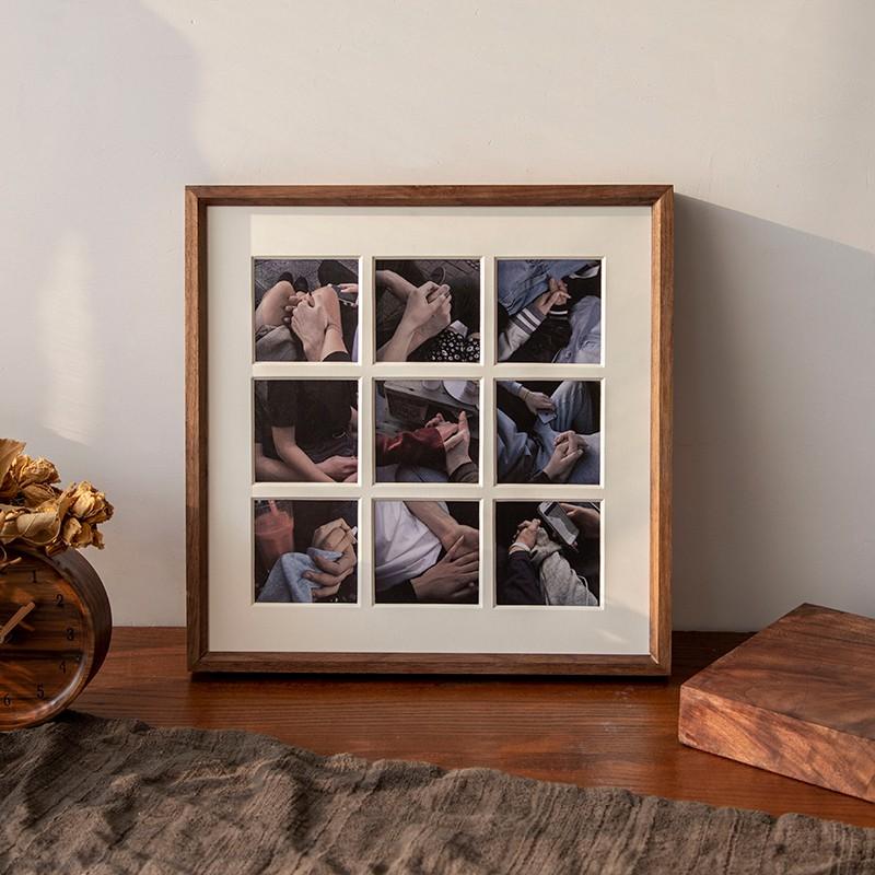 簡約相框 黑胡桃實木質九宮格相框掛墻免費洗照片做成相框擺臺藝術照裝裱框 木質相框