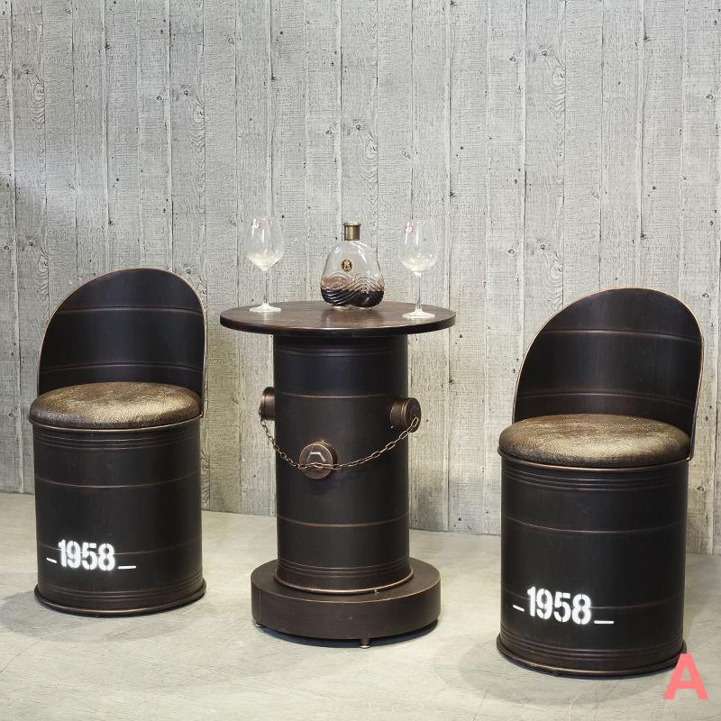 熱銷☬工業風復古酒吧奶茶火鍋店美發店服裝店桌椅鐵桶凳椅子桶椅創意 鐵桶凳子儲物工業風圓桶酒吧個性時尚