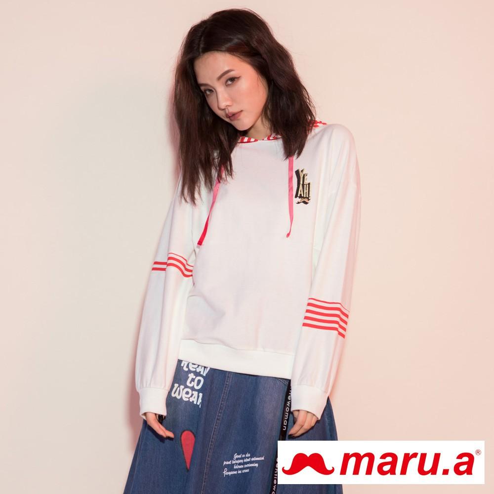 maru.a (93)條紋拼接不對稱手袖胸口印花連帽上衣(白色)