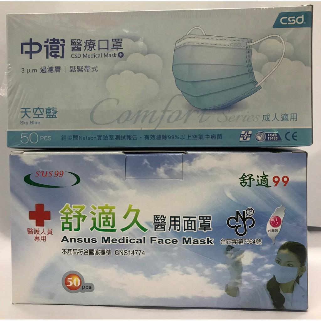 中衛醫療口罩組合價/50入(天空藍)
