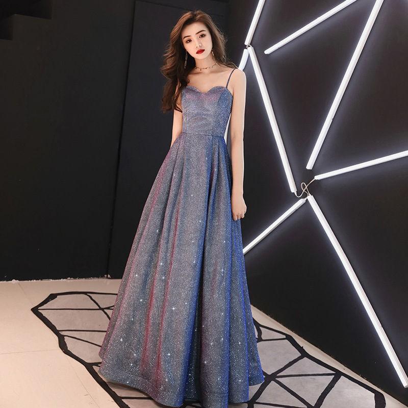 【美美美】星空晚禮服女2020新款時尚氣質名媛性感氣場長款顯瘦女王禮服裙