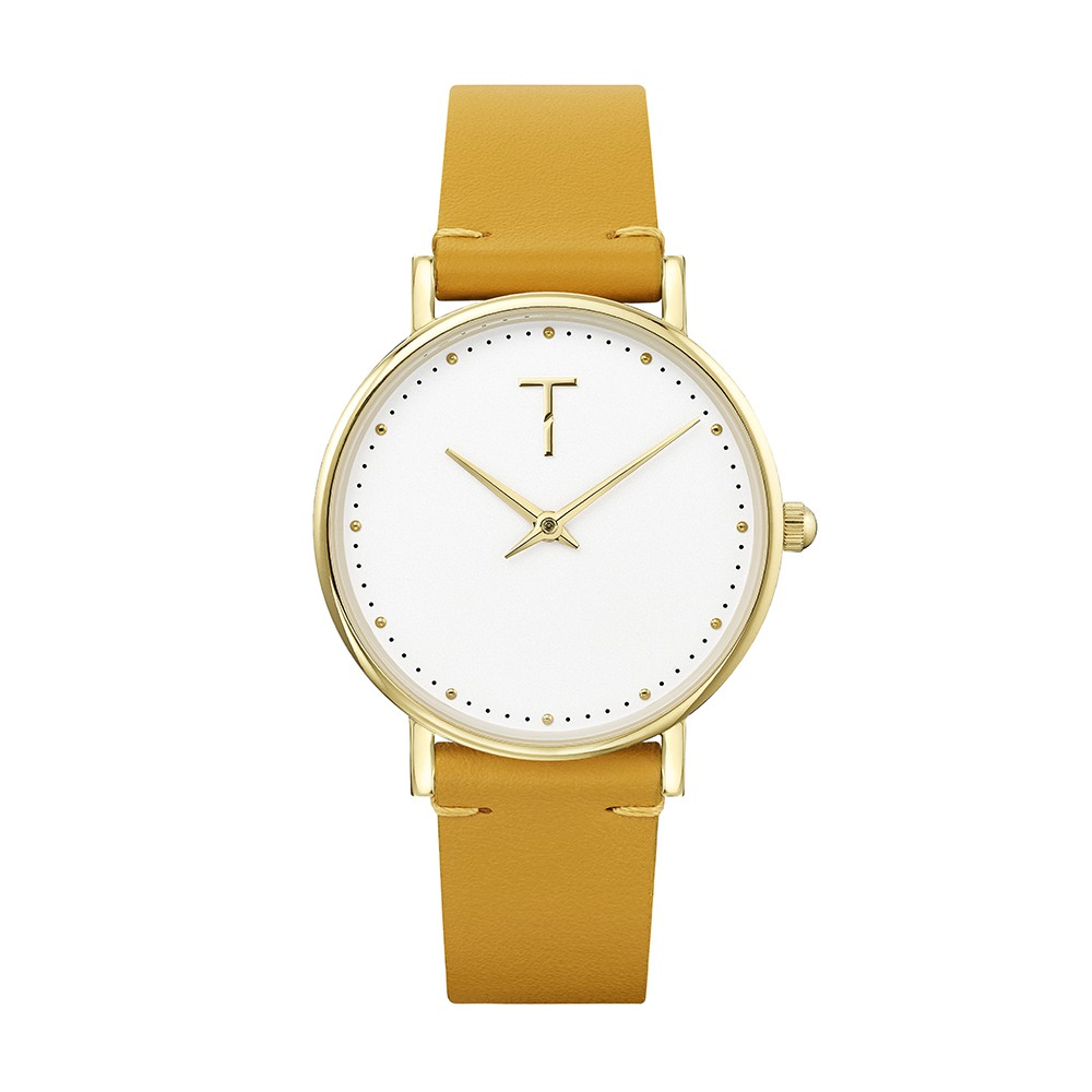 TYLOR | 美國設計師品牌手錶 / WOMEN 金色白面芥黃色真皮錶帶腕錶 TLAF001