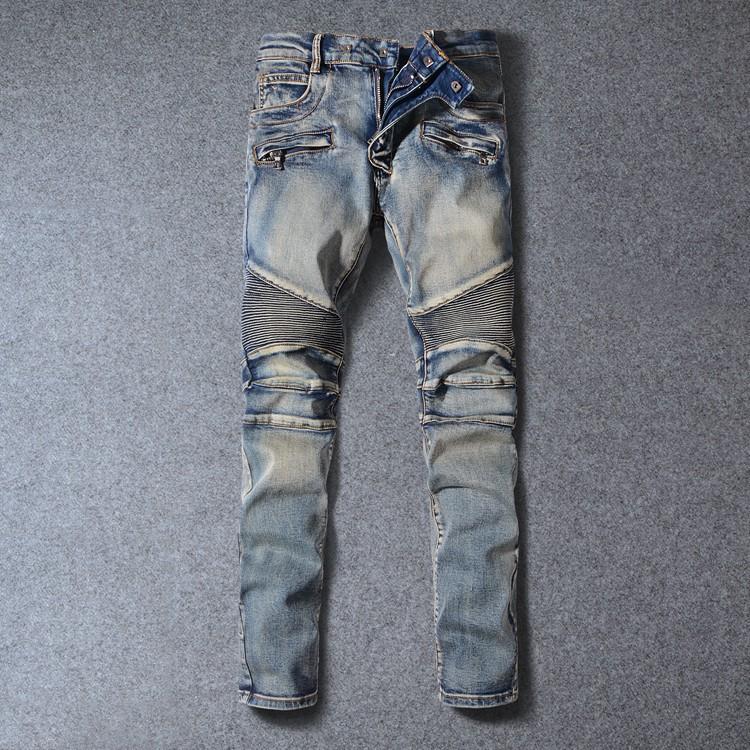 BALMAIN JEANS長褲 長褲 修身小腳牛仔褲 直筒牛仔褲 牛仔褲長褲 巴爾曼 男生牛仔長褲 破洞拼接拉鏈 潮流