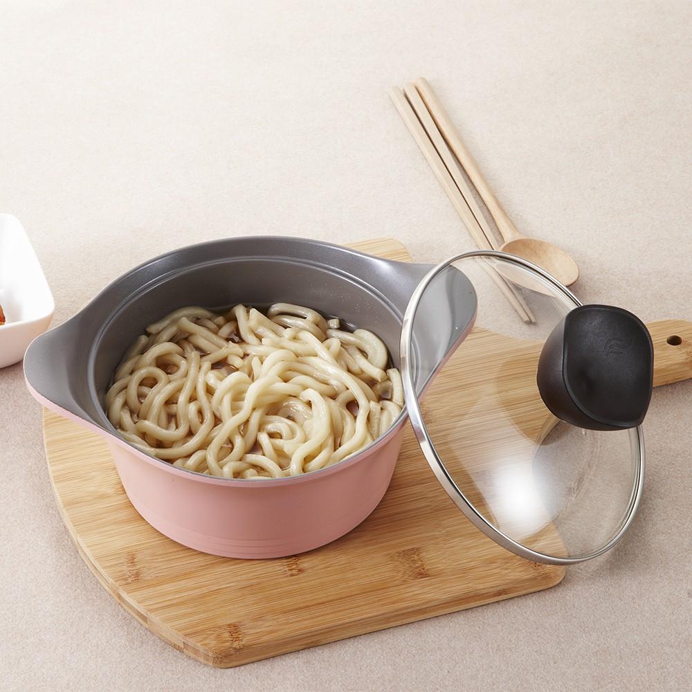 韓國NEOFLAM Aeni系列陶瓷不沾湯鍋24cm-粉紅(玻璃蓋)-生活工場