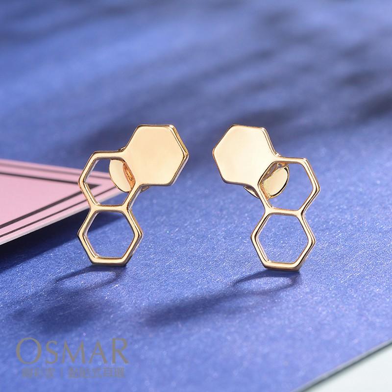 絢彩家【OSMAR】時尚幾何設計蜂巢 無耳洞黏貼式耳環 附10對貼紙補充包