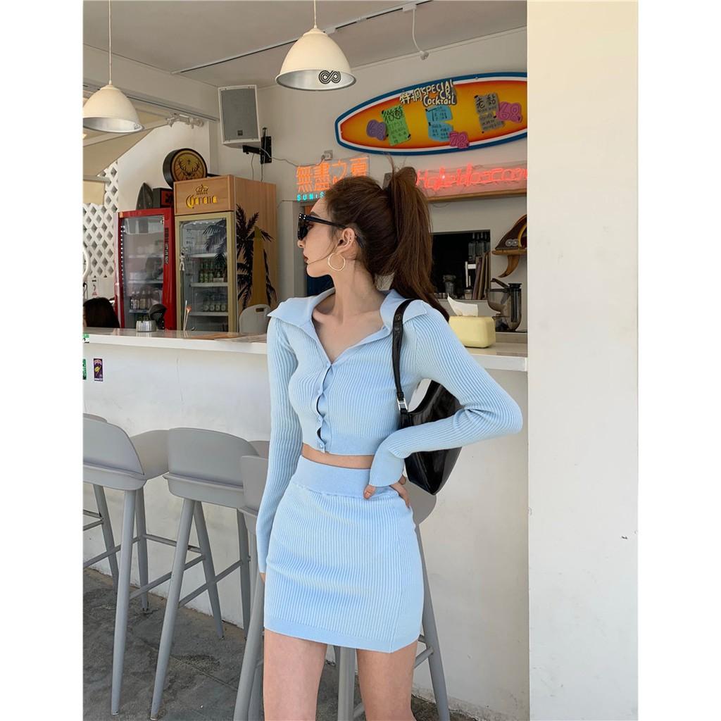新品鉅惠時尚針織套裝女氣質上衣高腰顯瘦包臀半身裙兩件套2021年春秋新款