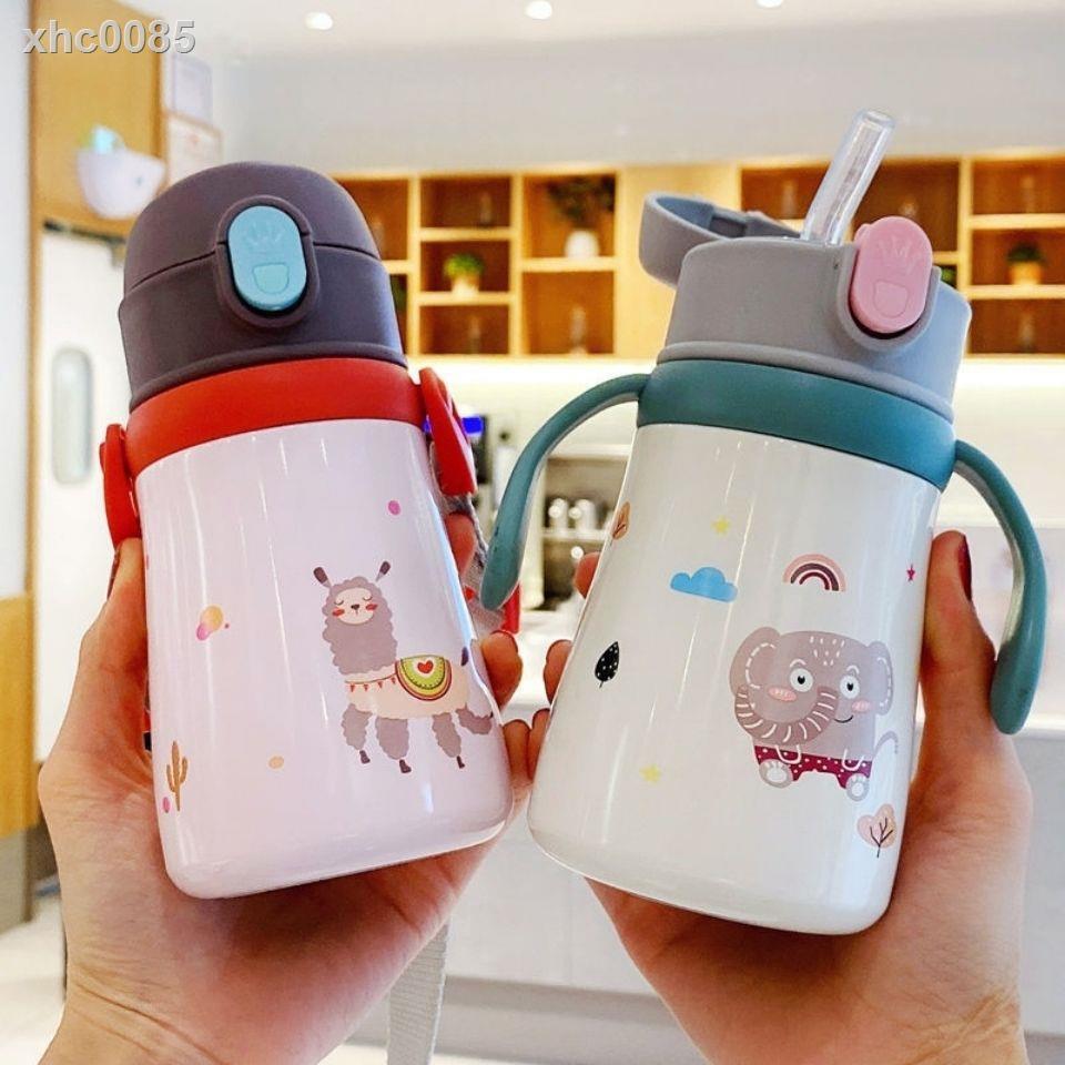 【現貨】✼☊♟兒童保溫杯帶吸管手柄背帶兩用316不銹鋼寶寶嬰兒保溫杯韓版水杯