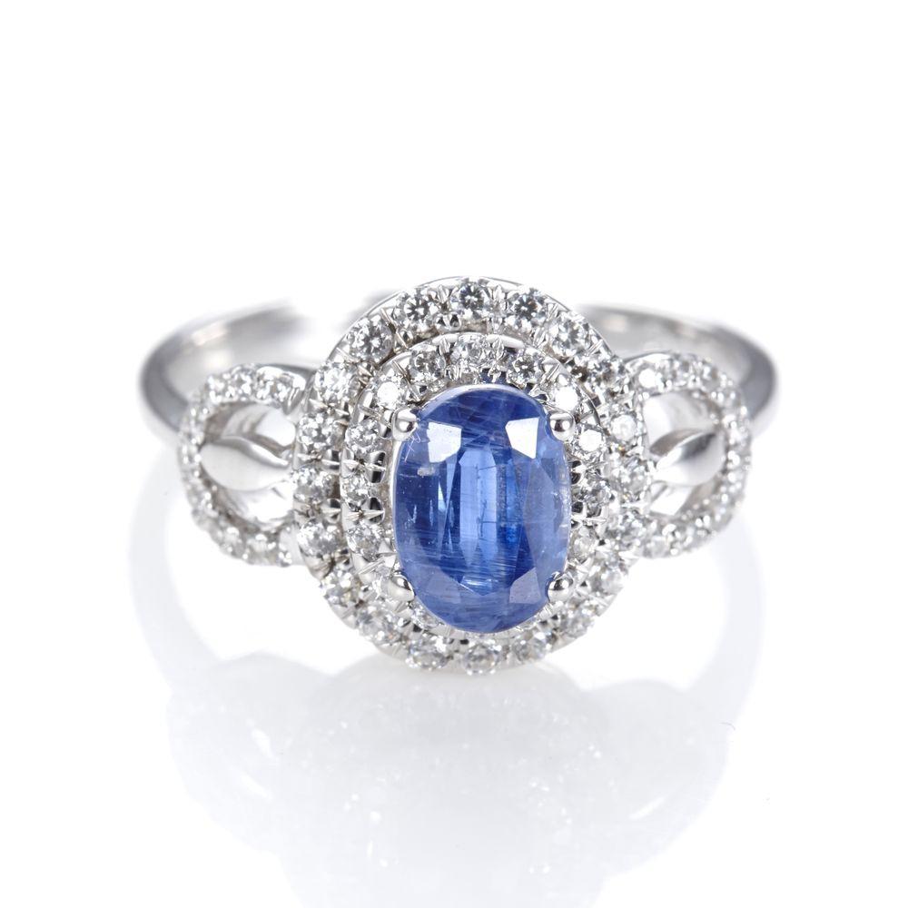 Dolly 天然 藍晶石1克拉 銀飾戒指(003)