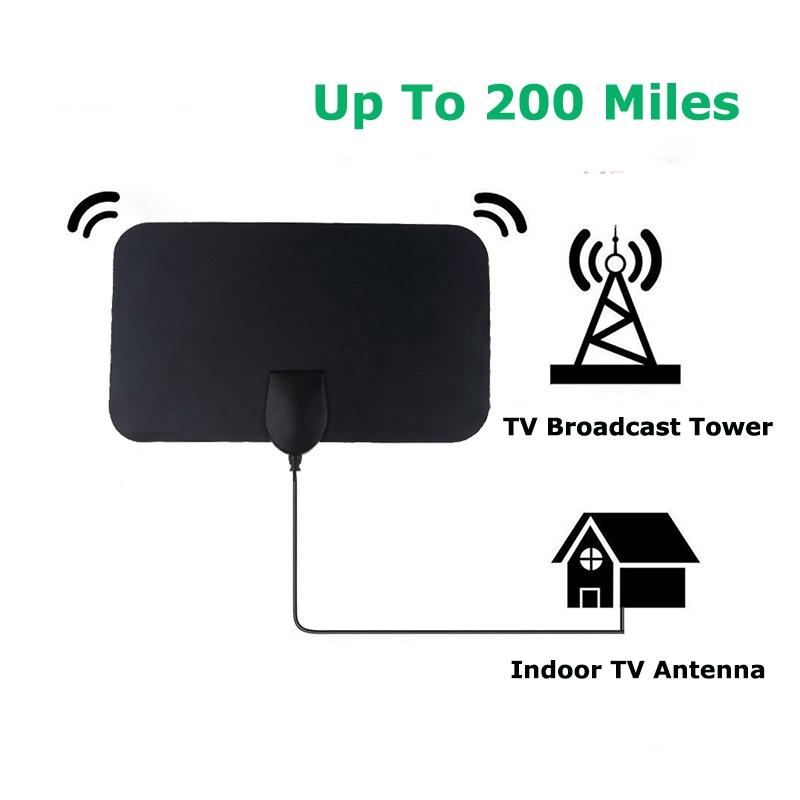 200英里範圍天線電視數字高清高清電視1080P Skywire 4K天線室內天線