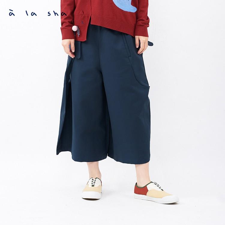 a la sha 蝴蝶結造型不對稱褲裙