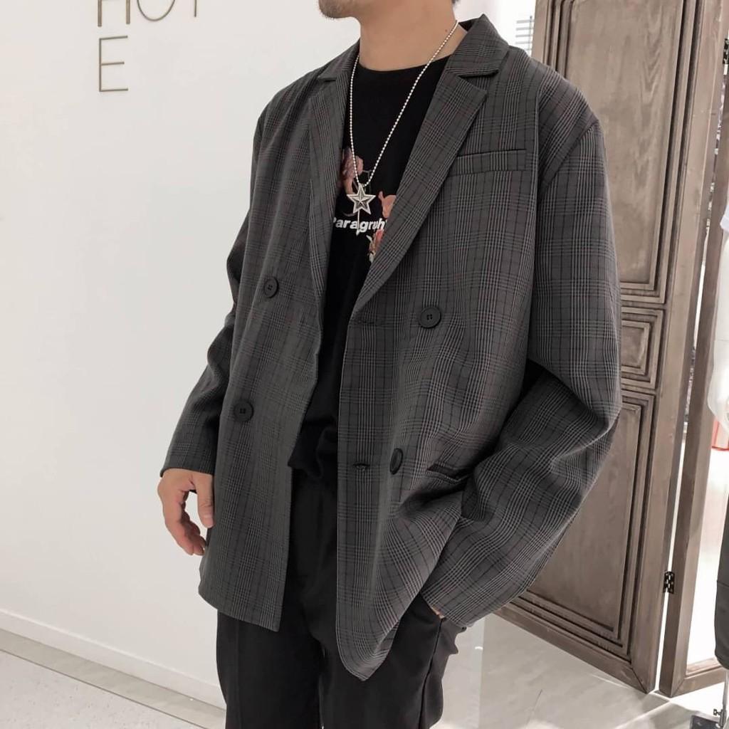 TOP_KOREA 正韓 寬版格紋雙排扣西裝外套 H575