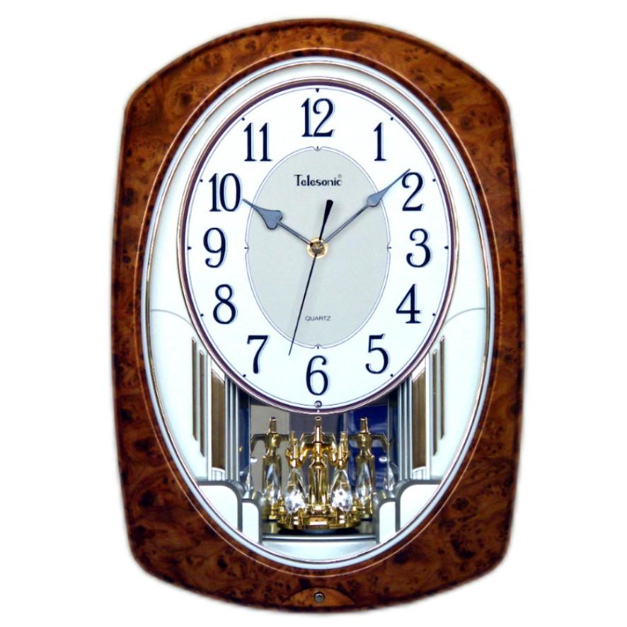 Telesonic/天王星鐘錶 經典再現核桃木時鐘 掛鐘 音樂時鐘 七彩LED燈 日本機芯
