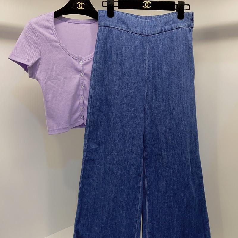 Zara 牛仔寬褲 穿一次 很新