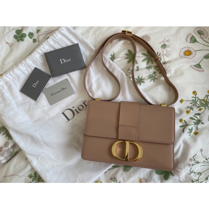 保證正品 二手98新Christian Dior 30蒙田玫瑰金拋光小牛皮 肩背/斜背包