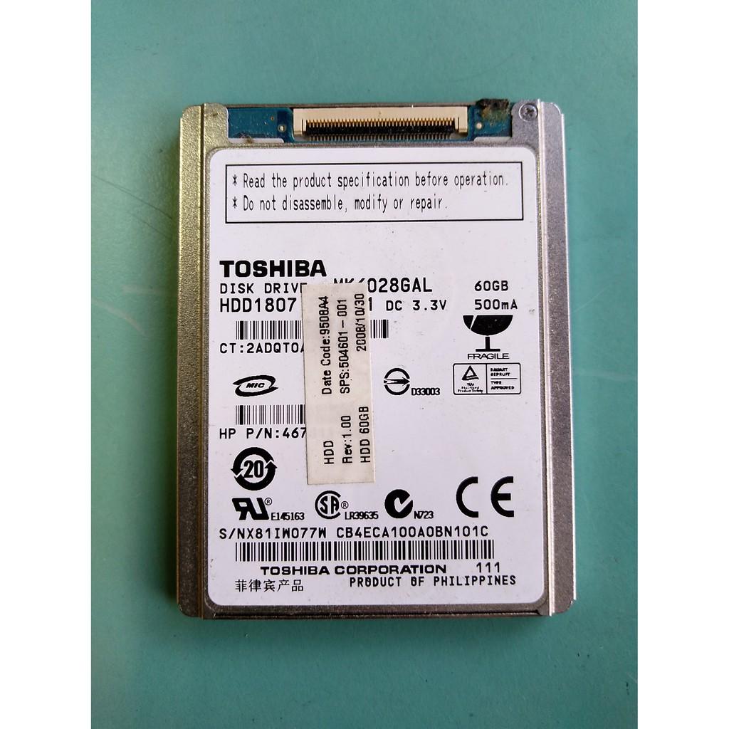 (測試瑕疵) TOSHIBA 60GB 1.8吋 ZIF/CE硬碟 MK6028GAL (相機/攝影機用)