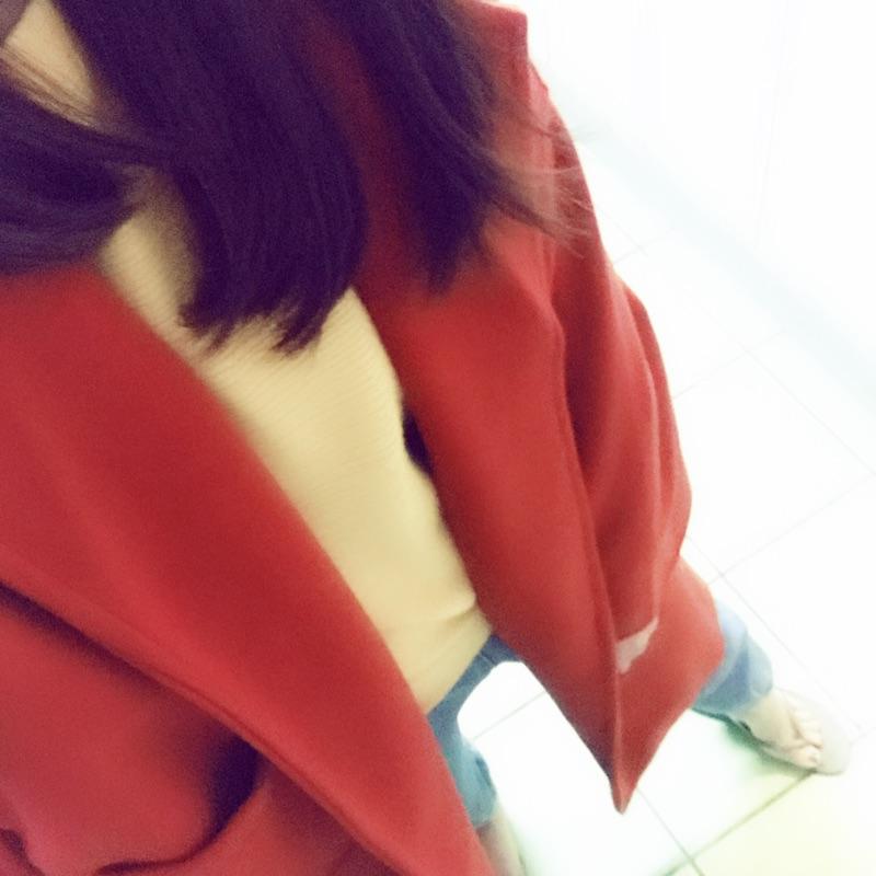 楓紅色毛呢大衣