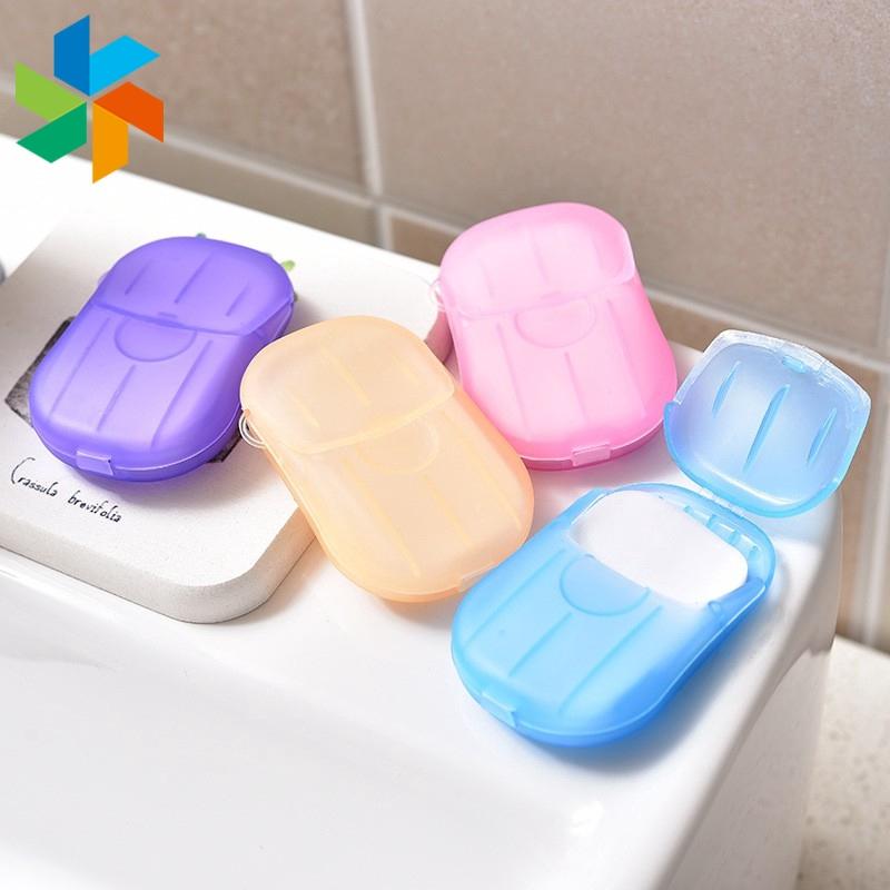 迷你一次性肥皂盒 20 個 / 盒洗手浴旅行床單發泡盒 Jp5