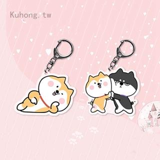 創意款動物柴犬挂件鑰匙扣 金屬透明亞克力鑰匙扣 小飾品