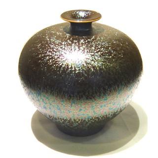 陶藝大師郭明本 錳七彩結晶釉瓷器 (小圓球瓶) 繽紛人生聚寶盆