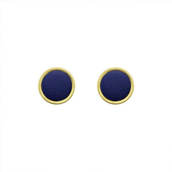 Snatch 皮革之盾手作耳環 - 藍