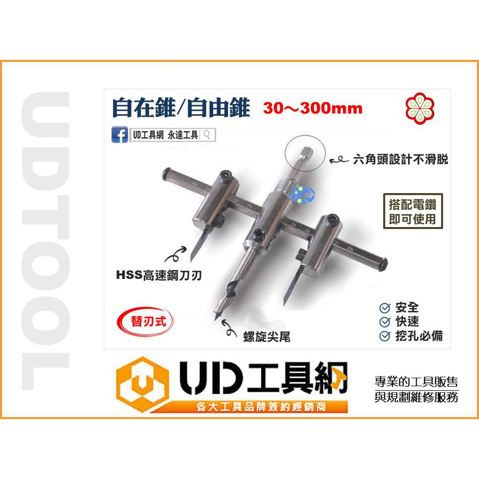 @UD工具網@台灣製造自由錐30MM~300MM 自在錐 可調整切割寬度 薄板圓孔切割挖孔 崁燈/木工工藝 實用工具