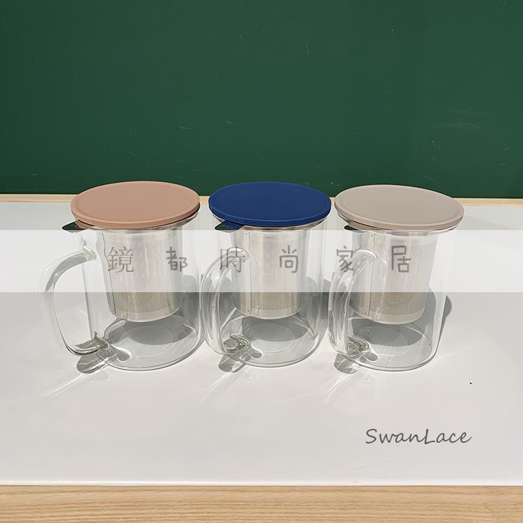 精選 304不銹鋼內膽濾網高硼硅耐熱玻璃花茶杯泡茶玻璃杯