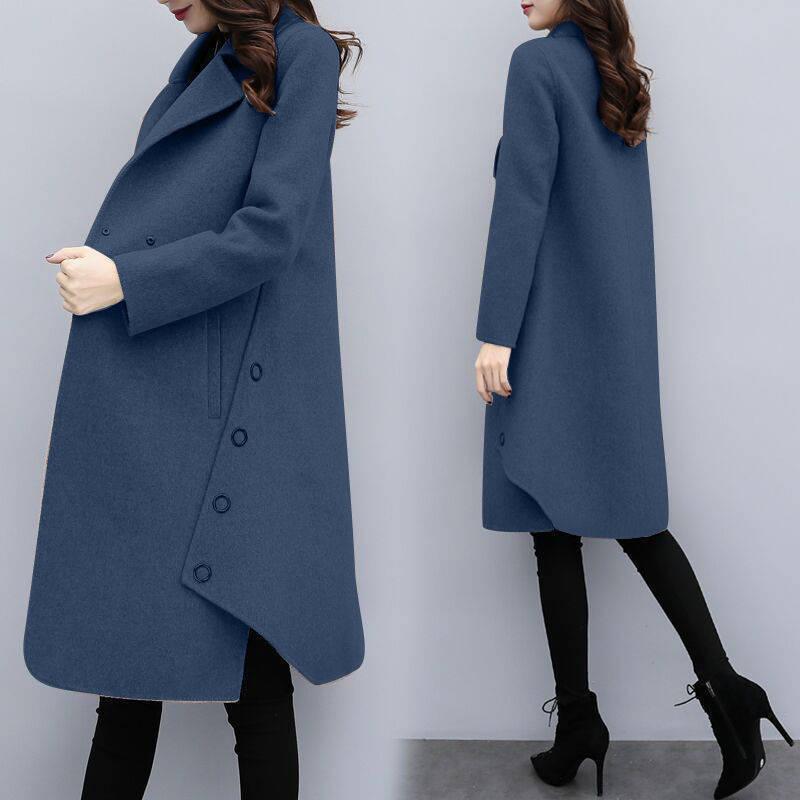 新款個性中長款時尚秋冬女裝韓版寬鬆毛呢大衣不規則風衣女呢子外套潮