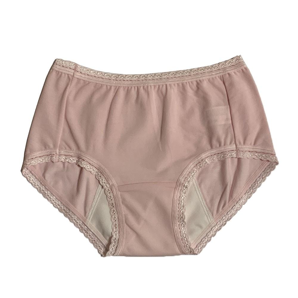 【MatchShop】台灣製素色短蕾絲中腰生理褲-粉