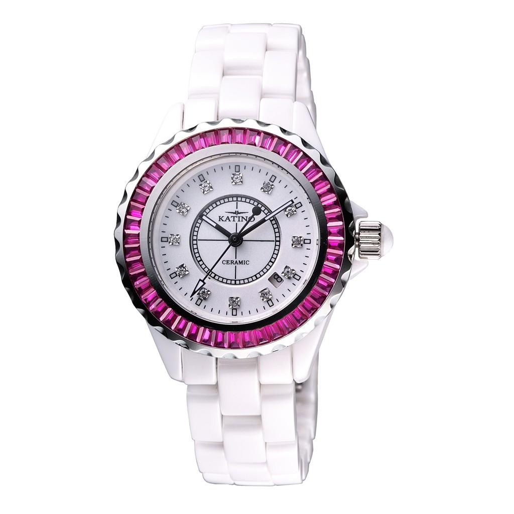 【KATINO】白面粉圈鑲刻鍍鑽陶瓷石英錶K303WZR
