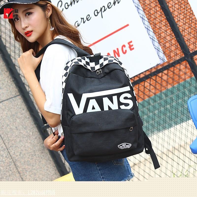 日本VANS後背包專櫃同款Vans/範斯夏季黑色格紋印花/雙肩背包現貨女士后背包正版代購【益達】