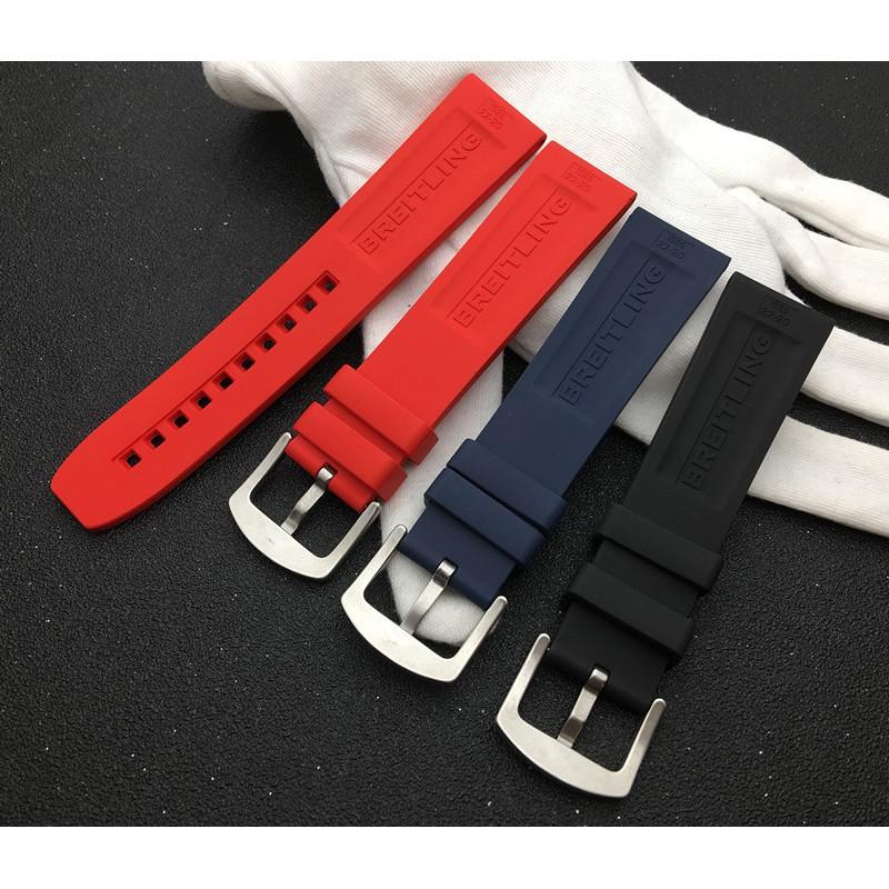 適配Breitling百年靈進口復仇者氟橡膠手表帶 22mm黑鳥黃狼海洋