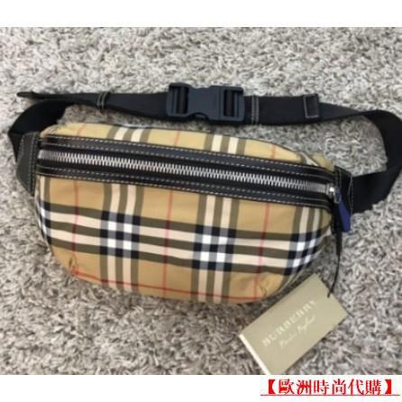 【歐洲時尚代購二手】Burberry 巴寶莉 80055211腰包 胸口包 中型 Vintage 經典格紋 霹靂