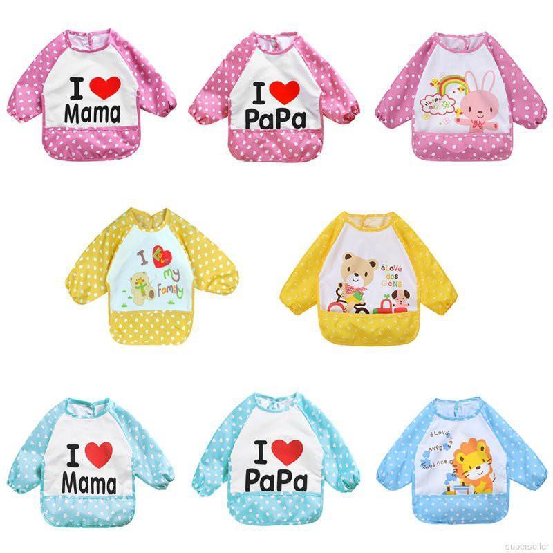 寶寶吃飯雙層防水圍兜兒童反穿衣 可愛嬰兒防水長袖反穿衣 圍兜 畫畫衣 罩
