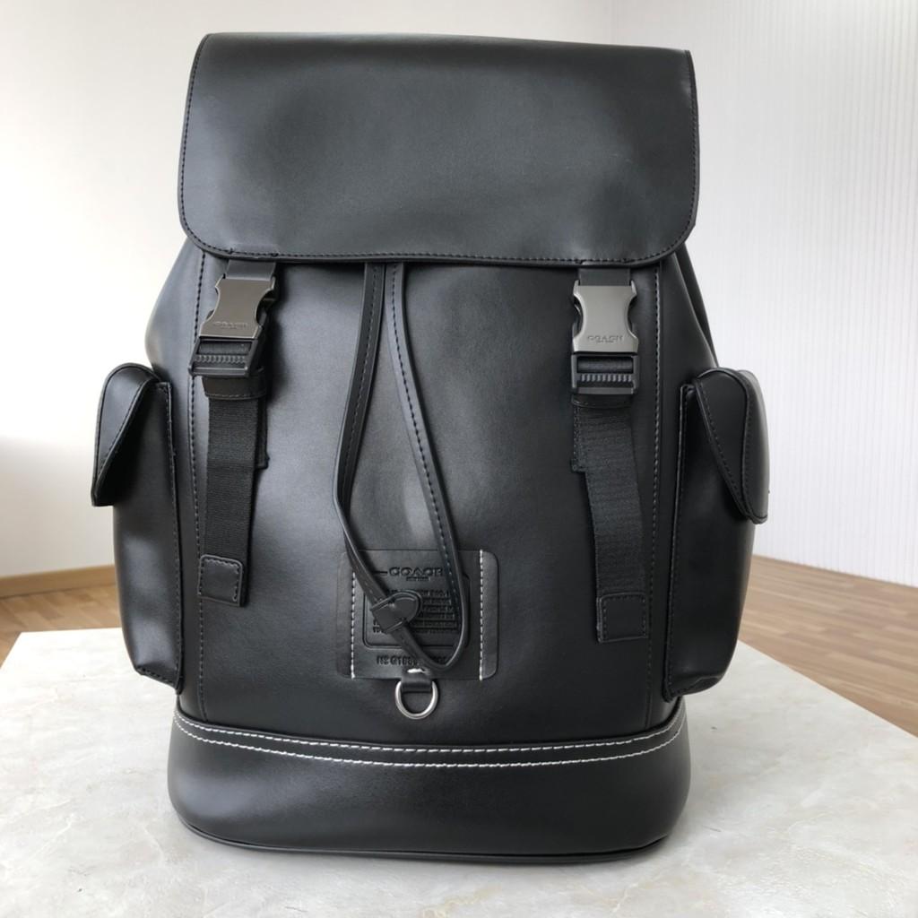 2021新款 coach  36080男士全皮雙肩背包 , 柔軟鵝卵石紋皮革內置拉鏈/手機/多功能袋 男包 背包 特價