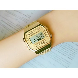 Casio卡西歐方形手錶 電子錶 腕錶男女 鬧鈴LED男女同款 數位金色黑色 中性復古A-168 臺南市