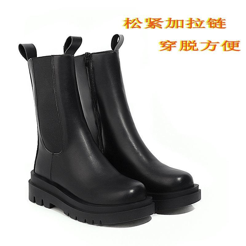 靴子女短靴馬丁靴女英倫風mona網紅同款時尚秋冬新款中筒靴配冬裙