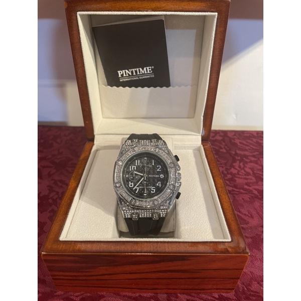 法國🇫🇷pintime [正貨] 石英錶 滿天星3眼鑽錶 藍寶石玻璃鏡面 防刮 防水100米 3功能鍵 #AP錶款 手錶