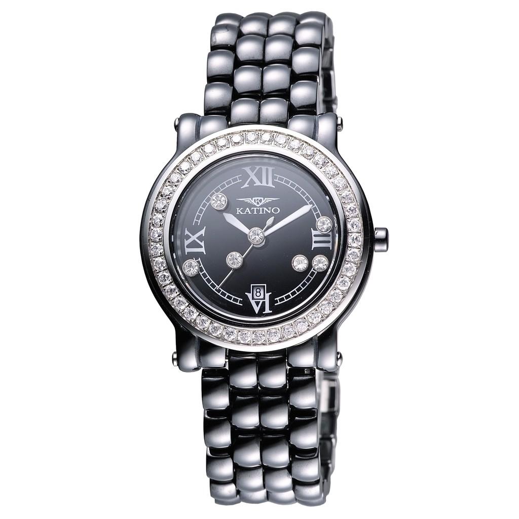 【KATINO】圓形快樂鑽陶瓷石英錶K605BB