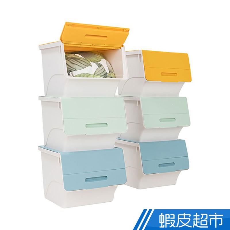 樂嫚妮 45L 三段式掀蓋斜口收納箱 3入 前開式 收納箱 收納盒 可堆疊 翻蓋式 大容量 衣物收納 廠商直送 現貨