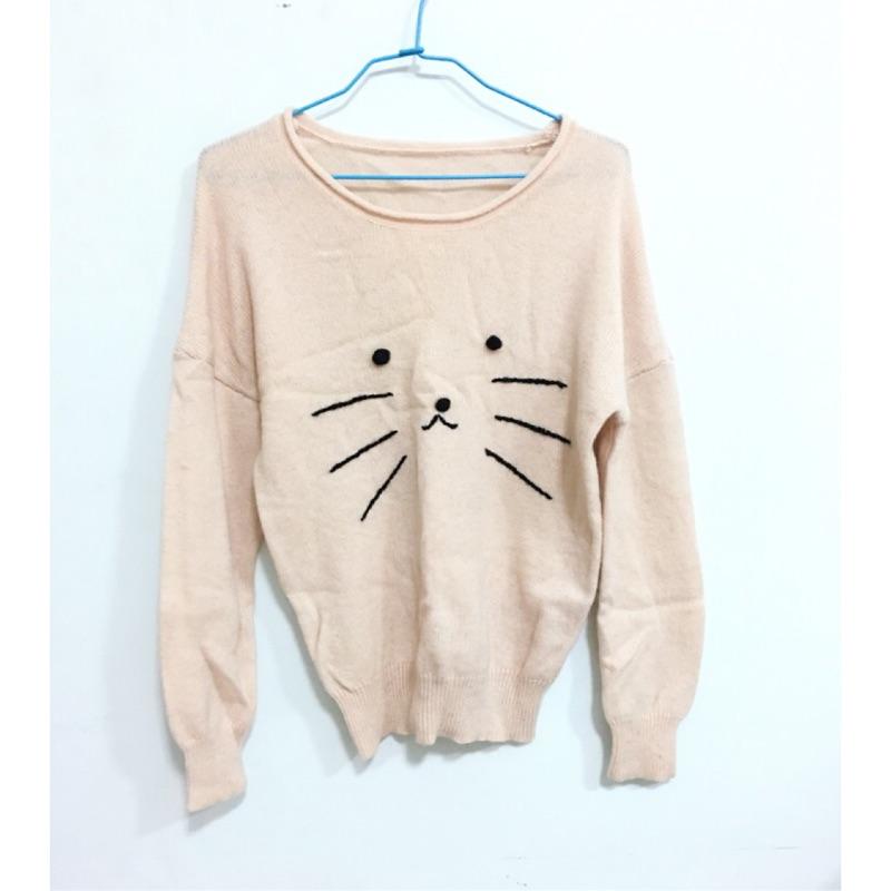 貓臉圖樣粉膚色針織上衣