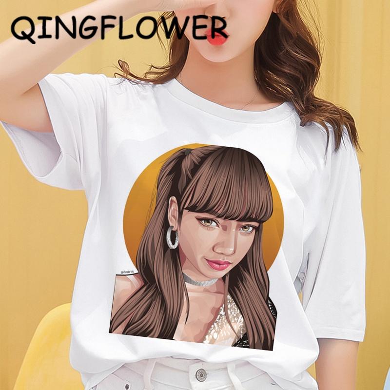 Blackpink-Lisa TAEHYUNG (V) CELINE (高品質) 中性 T 恤上衣