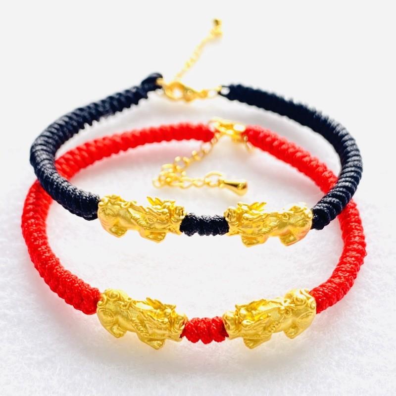 9999純金 黃金雙貔貅手鍊 約0.14錢 黑紅兩色可選 黃金手環 黃金手鍊 生日禮物 禮物 聖誕禮物 金喜飛來