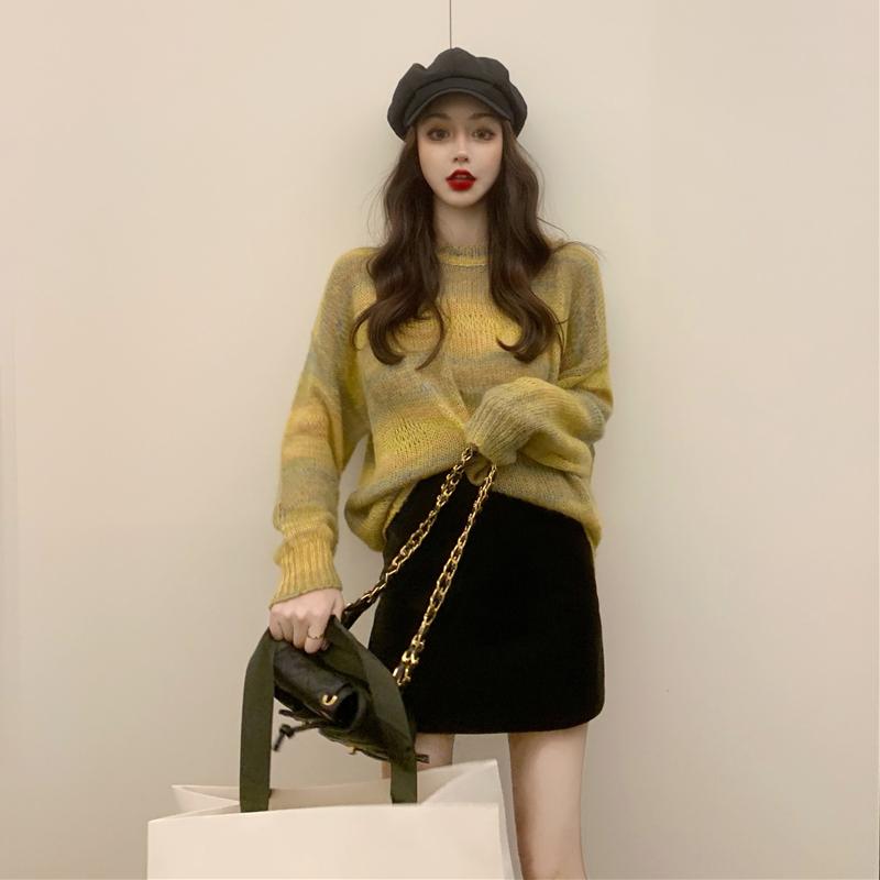 輕熟風超仙甜美溫柔小香風馬海毛衣套裝裙兩件套大碼減齡氣質女裝 r5GA