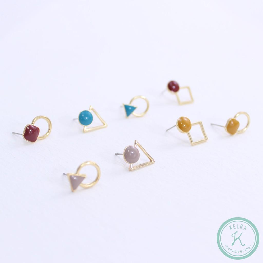 【KELRA】幾何繽紛耳環耳夾