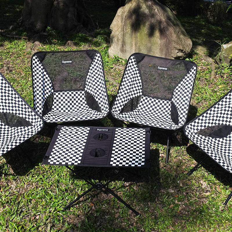 【車庫服飾】 HELINOX X SUPREME 極稀有 格紋 格子 登山露營椅 折疊桌 四張椅+一張桌組