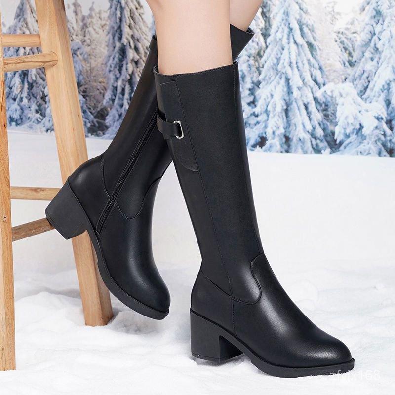 真軟皮新款高筒靴女高跟大碼長筒靴粗跟馬靴防滑保暖騎士靴馬丁靴 FKoy