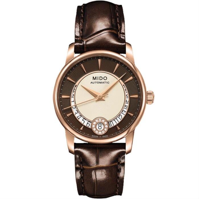Mido 美度錶 M0072073629100 Baroncelli系列Diamonds雅緻美鑽腕錶/棕 33mm